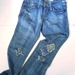 Levi's super low bootcut patchwork distress Jeans
